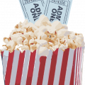 popcorn with movie tickets